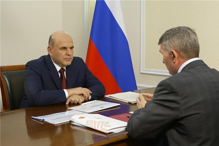 Рабочая встреча главы Чувашии Олега Николаева и премьер-министра правительства России Михаила Мишустина