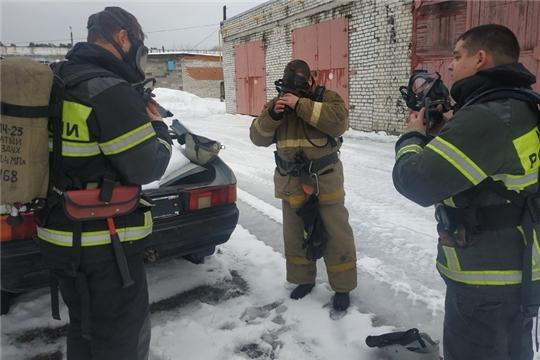 Газодымозащитники пожарно-спасательной части города Шумерля совершенствуют навыки работы