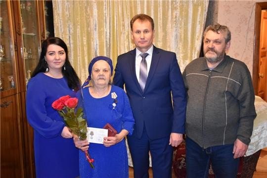 Поздравление труженицы тыла, ветерана труда Е.П. Лариной с 95-летием
