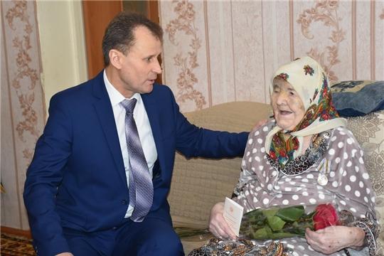 Поздравление с 95-летием принимала ветеран труда, труженица тыла Файмя Аймалетдинова