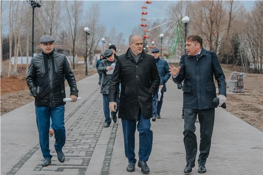 Ход подготовки к летнему сезону парка им. 500-летия города Чебоксары проверил глава администрации