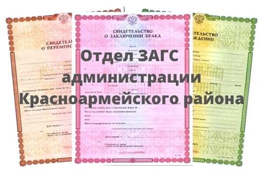 Итоги регистрации актов гражданского состояния по Красноармейскому району в 1 полугодии 2020 года