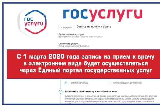 С 1 марта 2020 года запись на прием к врачу в электронном виде будет осуществляться через Единый портал государственных услуг
