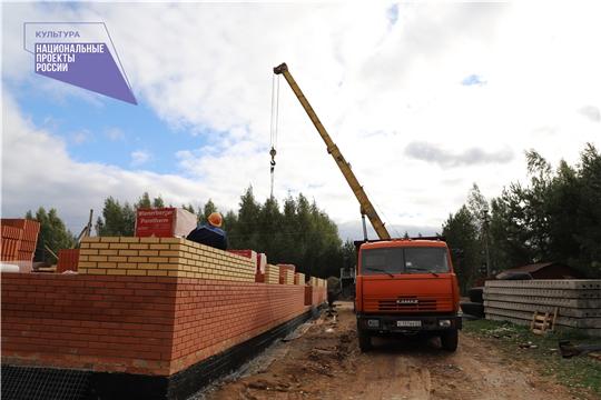 В Канашском районе продолжаются работы по строительству сельского дома культуры в д. Хучель