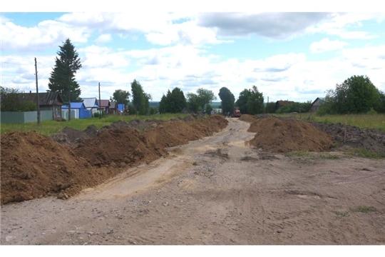 В селе Полянки Ядринского района началось строительство автодороги