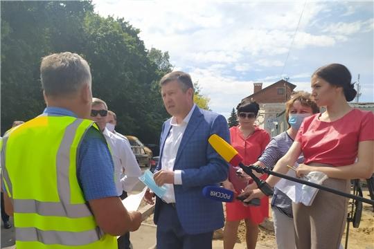 Министр транспорта и дорожного хозяйства Чувашской Республики проинспектировал ход работ на городских объектах нацпроекта