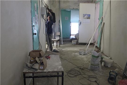В Ходарском сельском Доме культуры МБУ « Информационно- ресурсный центр культуры Шумерлинского района» идут ремонтные работы