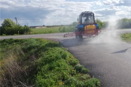 Дезинфекция дорог общего пользования в Шумерлинском сельском поселении