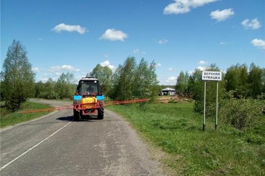 Дезинфекция дорог общего пользования в Шумерлинском районе