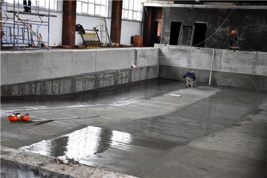 Ход строительства 25-метрового плавательного бассейна в с. Аликово