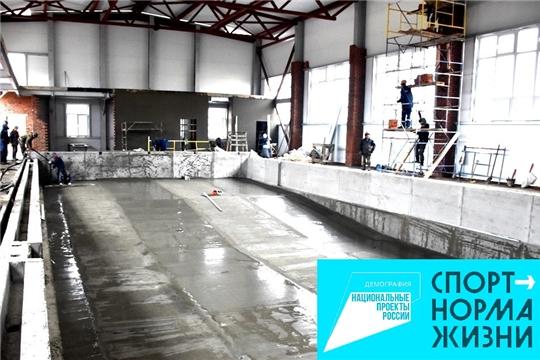 «Спорт - норма жизни»: в с.Аликово продолжается строительство плавательного бассейна