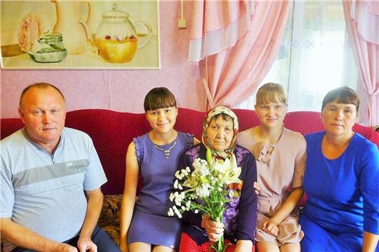 90-летний юбилей отметила жительница деревни Вурман-Кибеки Лазарева Елизавета Лазаревна