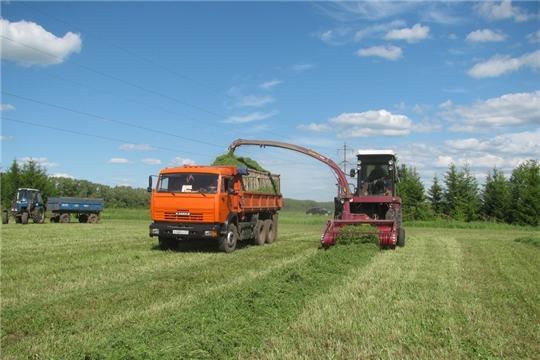 В Янтиковском районе продолжается заготовка кормов